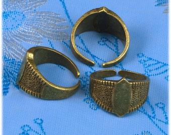 10pcs Brass base Adjustable antique bronze  Blank RING