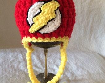 The Flash Crochet Earflap Hat size newborn
