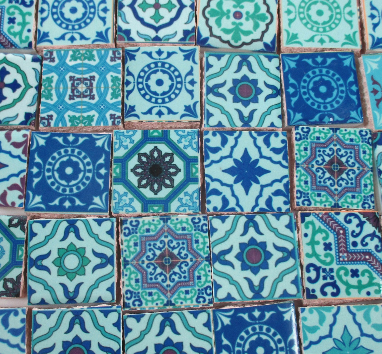 Ceramic Mosaic Tiles - Blue Green Medallions Moroccan Tile Mosaic ...