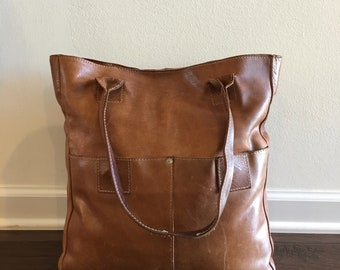 Raven + Lily Tote Leather Shoulder Handbag in Brown - Size Medium