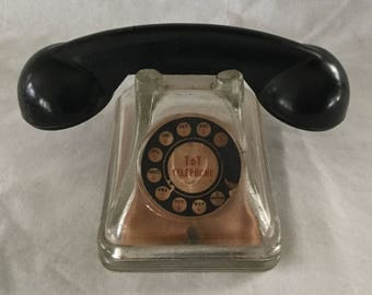 Vintage J H Millstein Tot Telephone Glass Candy Container