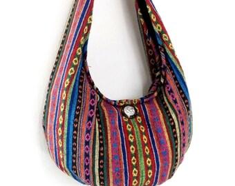 Woven Bag Purse Tote Women bag Thai Cotton Bag Hippie bag Hobo bag Boho bag Shoulder bag Elephant button Everyday bag Short Strap (WF34)