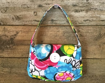 Girls Fabric Purse with Button - modern 60's floral