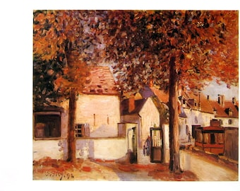 View in Moret, Rue des Fosses - Alfred Sisley - Fine Art Print - Reproduction Print form 1979 Vintage Book - 12 x 9