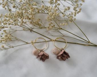 Handmade Polymer Clay Earrings Floral Ring in Beige