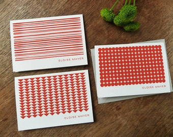 Printable Note Cards - Red Geo - Red Geometric Note Card Download - Red and White Note Cards - Note Card PDFs - Stripes, Triangles & Dots