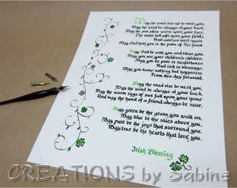 "May The Road Rise Up, Irish Blessing Handwritten Calligraphy 11x14"" Ready To Frame Original Art Clover Ireland Traditional READY TO SHIP (2)"