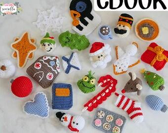 25 Christmas Crochet Ornament Patterns eBook - holiday tree decor traditions santa rudolf snowman elf