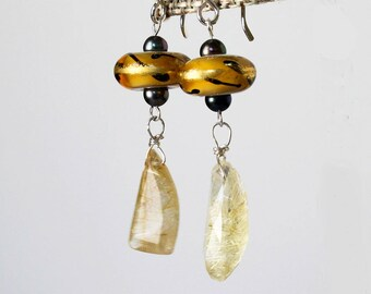 Rutilated Quartz Earrings Golden Lampwork Earrings Gemstone and Lampwork Earrings Gift for Woman