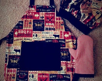"Little Boys ""BBQ"" apron set"