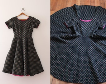 vintage 1950s Jerry Gilden dress // 50s quilted full circle skirt dress