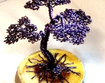 Wire Bonsai Sculpture, Purple