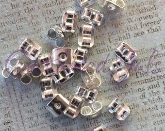 Two back ties Silver earrings