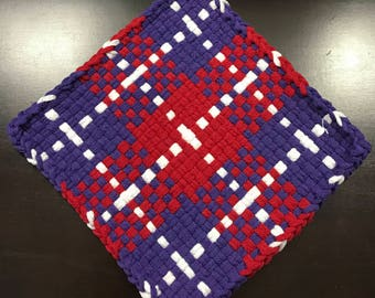Handmade Large Woven Potholder in Purple Red Block