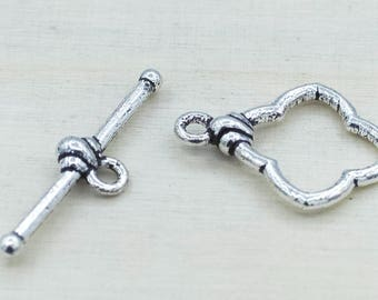 2 pairs sterling silver plated toggle clasp for necklace, toggle clasp for bracelet, toggle clasp for kumihimo, silver jewelry closures