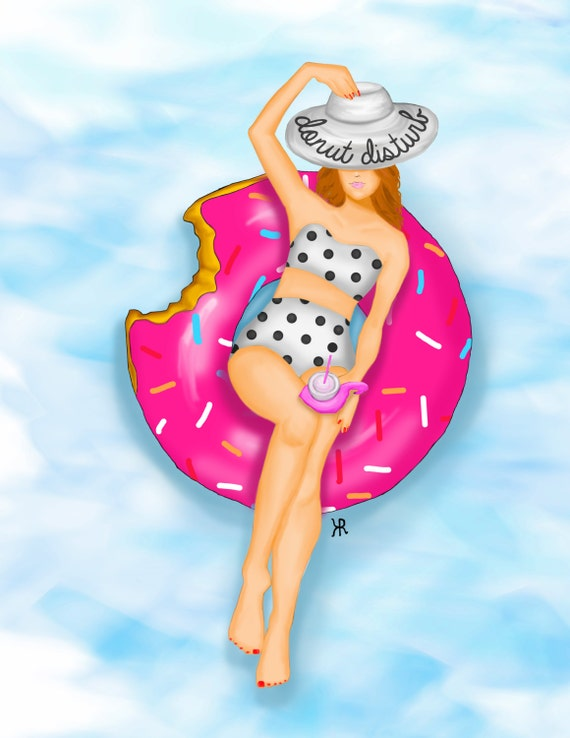 Donut disturb print of original beach themed illustration, summer art floppy hat beach art, pool illustration, flamingo lover girly art