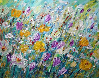 Spring Flowers Original Painting on Canvas Abstract Impasto Floral Art by Luiza Vizoli