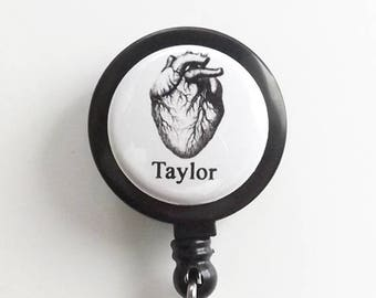 Human Anatomy Custom Name retractable badge reel medical masculine gift school male nurse physician assistant id holder personalized gothic