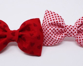 Red Velvet Bow Tie and Pink, Red Mini Heart Bow Tie | Valentines Day