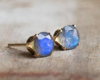 Labradorite Stud Earrings, Gift for Women, Gift for Mum, Blue Labradorite Ear Studs, Gold, Gemstone Earrings Studs, Labradorite Jewelry