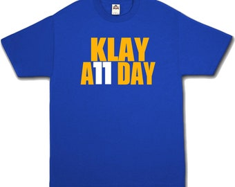 Klay A11 Day - Blue T-Shirt Thompson Golden State Warriors 11 All Sizes S-3XL