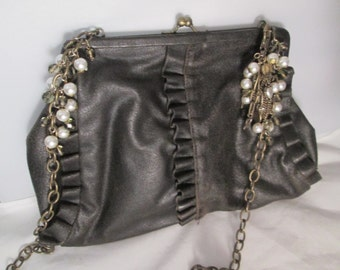 Vintage Liz Soto Black Shoulder Handbag with a Gold Chain, White & Glass Beads, and Ruffles in the Front.