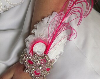Hot pink wrist corsage, arm corsage, feather corsage, hot pink wedding, prom corsage, corsages for prom, hot pink party dress, hand corsage