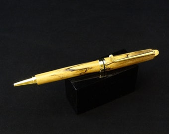 Handmade twist ink pen with a Spalted Maple main body by Specialty Turned Designs