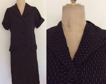 1960's Black Shift Dress with Orange Specs Stripes Size Medium by Maeberry Vintage