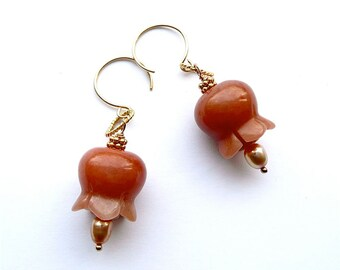 Tulips -- Golden Earrings with Red Aventurine and Pearl Tulips