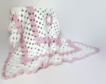 Crochet Baby Blanket ~ Baby Blanket ~ Crochet Blanket ~ Baby Shower Gift ~ Crib Blanket ~ Chenille blanket ~ White & Pink ~ Granny Blanket