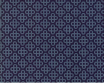 Lattice in Dark Blue - Moda cotton fabric - half yard or more