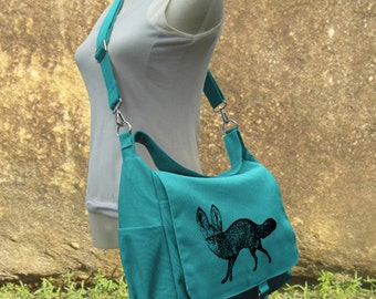 Turquoise canvas messenger bag, diaper bag, shoulder bag for women, girls school bag, market bag, shopping bag with screen print