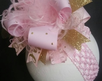 Gold & Pink 1st Birthday Over The Top Boutique Hairbow Hair Clip Ostrich Feather