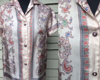 Lovely 1950's Scarf Print Shirt .. UK Size 12  Vintage Fifties 50's