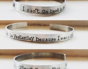 Alice in wonderland bracelet, movie quote cuff bracelet, hand stamped personalized jewelry