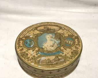 Old Metal Praslines P. Haeffele Marquise Pompadour Vintage chocolate box