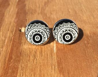 Black and White Mandala:Wood Stud Earrings