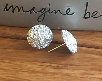 Nickel free. Sparkly Silver Stud Earrings. Fancy Silver Studs. Nickel Free. 14mm. 14