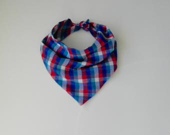 Blue, Red, White Plaid Bandana