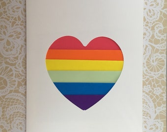 Rainbow stripes paper heart large greeting card