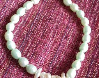 Mint Cultured Freshwater Pearl bracelet featuring White Keshi Pearls, 925 Sterling Silver