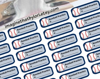 Baseball practice planner stickers for your Erin Condren planner