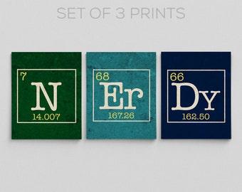 Science Dorm Decor Periodic Table Nerdy Set Science Chemistry Nerdy Gift Ideas Teacher Gifts for Teacher N Er Dy Gifts for Him Gifts for Her