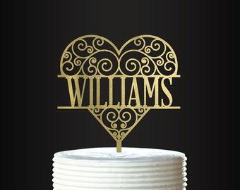 Personalized Cake Topper - Ornate Heart - Wedding Cake Topper - Personalized Cake Topper - Mr and Mrs - Anniversary - Wedding Anniversary