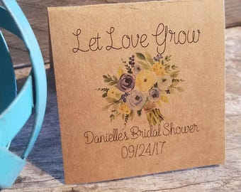 Personalized FUN SIZE Blue Yellow Floral Bouquet Bridal Shower Flower Seed Packet Favors Sow in Love Wildflower Seeds Wedding Favors