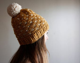 Ready to Ship || Chunky Fair Isle Hat - Mustard with White Hearts || Knit Hat || Winter Beanie || Pom