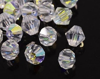 6MM Faceted Clear AB Crystal Glass Bicones - Strand 52 Pcs