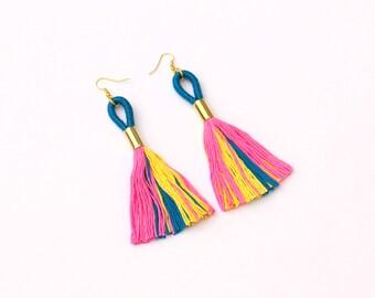 Long Tassel Statement Earrings, Colorful Boho Earrings, Big Fabric Earrings, Boho Chic Jewelry, Festival Earrings, Gift For Her