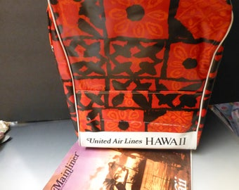 Vintage UAL Aloha red print Carry onTote Travel bag 1970S